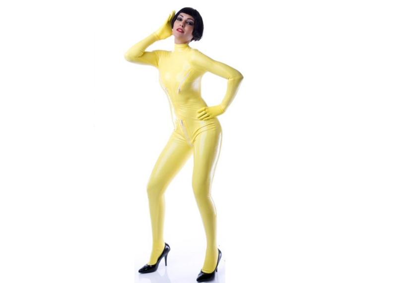 geel yellow latex  dun en dik stevig glimmend latex om zelf latex kleding te maken en te repareren per meter aanbieding korting