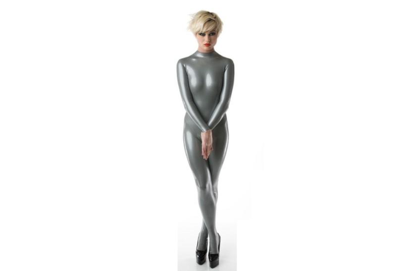 Metallic zilver latex  dun en dik stevig glimmend latex om zelf latex kleding te maken en te repareren per meter kopen huren
