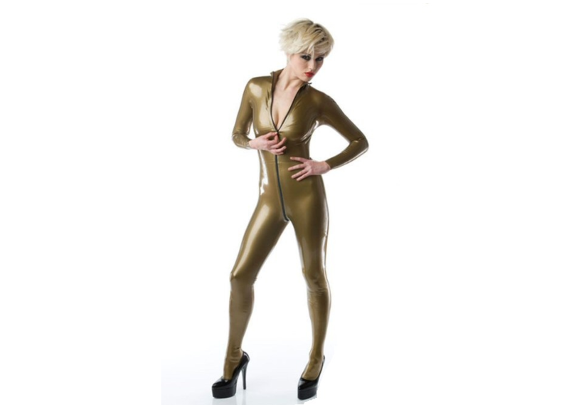 Metallic oud goud dun en dik stevig glimmend latex om zelf latex kleding te maken en te repareren