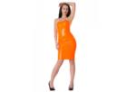 Neon oranje  dun en dik stevig glimmend latex om zelf latex kleding te maken en te repareren per meter blacklight