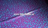 Luipaard printje groen paars latex sheet stof fabric per meter 01