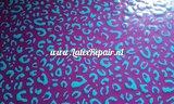 Luipaard printje groen paars latex sheet stof fabric per meter 02
