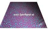 Luipaard printje groen paars latex sheet stof fabric per meter 03