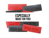 Latex rubber labels tags voor kleding 3d textured struktuur structuur form me for you
