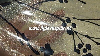Exclusief latex - Bloesem transparant zwart zilver/goud glitter