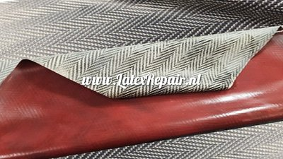 Exclusief latex - Structured Tweed Herringbone Gold/Black/Red