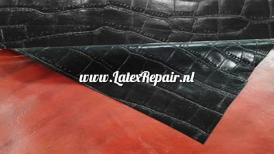 Exclusief latex - Structured Croco Black/Red  - extra dik!