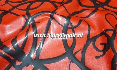 Exclusief latex - Metallic fris rood met krullen 1281