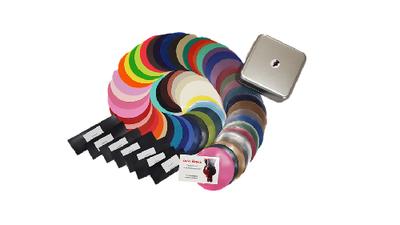 Blikje doosje box met latex rubber stalen voorbeelden kleuren diktes 01