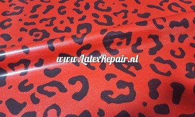 Latex sheet - Leopard metallic bright red 1271