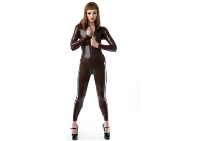 Latex chocolade bruin 040 dun en dik stevig glimmend latex stof om zelf latex kleding te maken en te repareren per meter beware