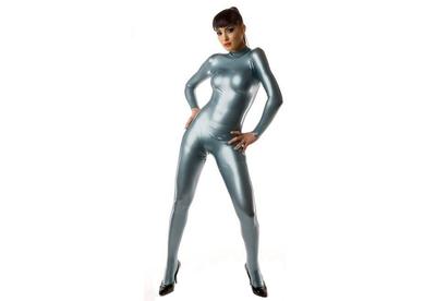 Electric blue latex dun en dik stevig glimmend latex om zelf latex kleding te maken en te repareren per meter metallic bewaren