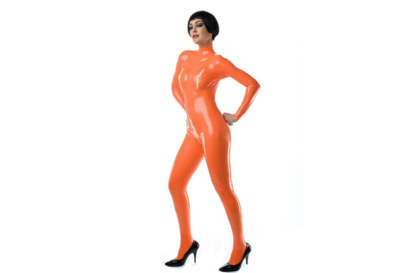 Oranje latex  dun en dik stevig glimmend latex om zelf latex kleding te maken en te repareren per meter winkel den haag