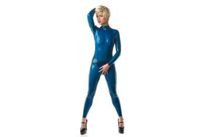 Transparant blauw  dun en dik stevig glimmend latex om zelf latex kleding te maken en te repareren per meter doorschijnend