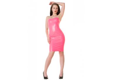 Neon vibrant pink  dun en dik stevig glimmend latex om zelf latex kleding te maken en te repareren per meter