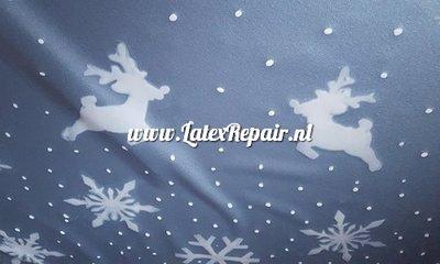 Kerst latex metallic blauw wit sheet foute kersttrui maken