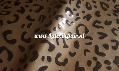 Leopard luipaard sheet latex stof metallic goud zwart