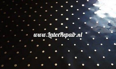 Zwart latex met gouden stippen, ga zelf latex kleding maken, latexmode