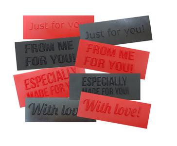 Latex rubber labels tags voor kleding 3d textured struktuur structuur 01