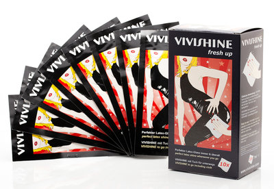 Vivishine fresh up meeneemdoekjes wipes hoogglans latex kleding