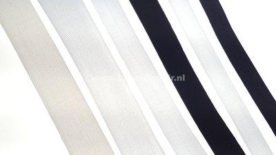 Keperband zwart wit ecru smal breed extra breed 15 mm 2 cm 3 cm 01