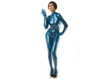 Metallic blauw latex  dun en dik stevig glimmend latex om zelf latex kleding te maken en te repareren per meter onderhouden bew